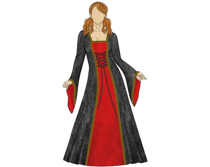Anastasia Medieval Dress Sewing Pattern - Sizes 8-22 UK - Download PDF