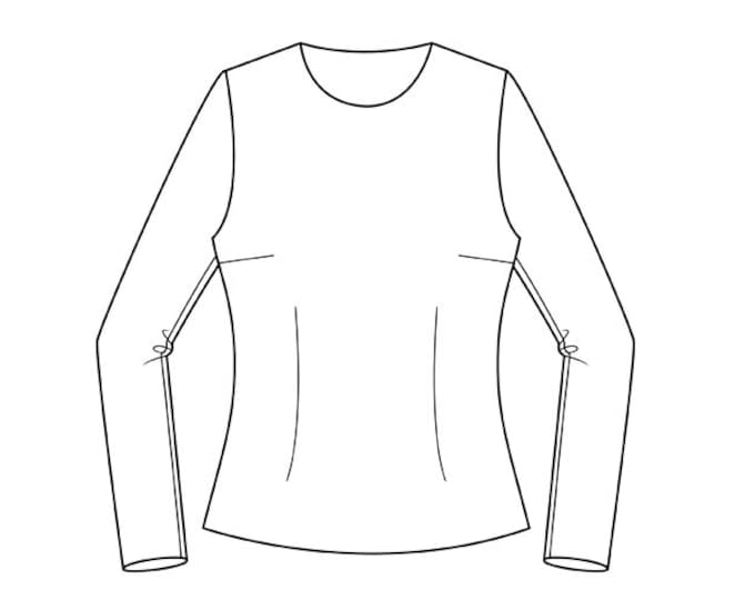 Basic Bodice to Hip Block Pattern (with semi-fitted sleeve)  Sizes 8-22 - Download PDF