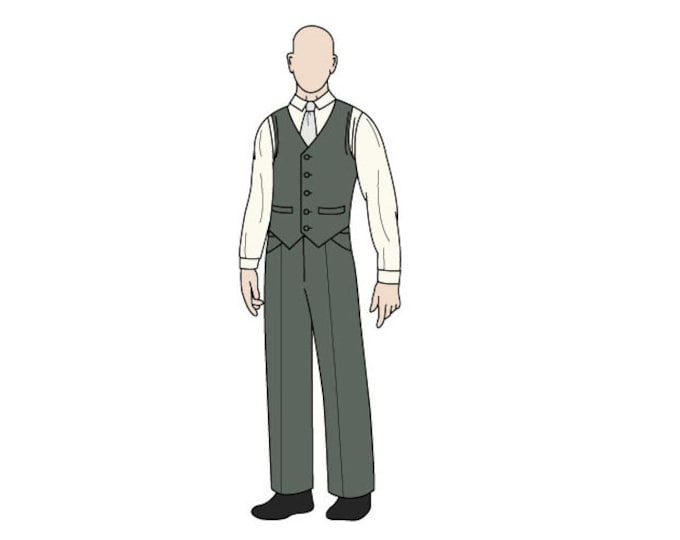 Men's Waist Coat with Welt Pockets Sewing Pattern - Sizes 34-44 - Download PDF