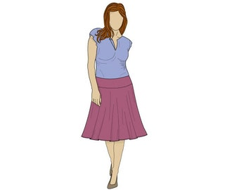 Simple Floaty Midi Day Skirt Sewing Pattern - Sizes 8-22 UK - Download PDF
