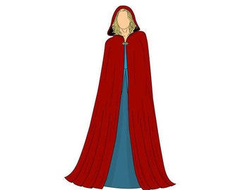 Long Hooded Cape Sewing Pattern - One Size - Download PDF