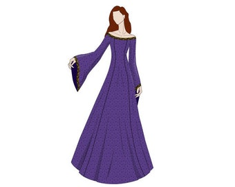 Off Shoulder Evening Dress Medieval Sewing Pattern - Sizes 8-22 UK - Download PDF