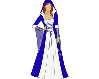 Hooded Medieval Dress/Costume Sewing Pattern - Sizes 8-22 UK - Download PDF