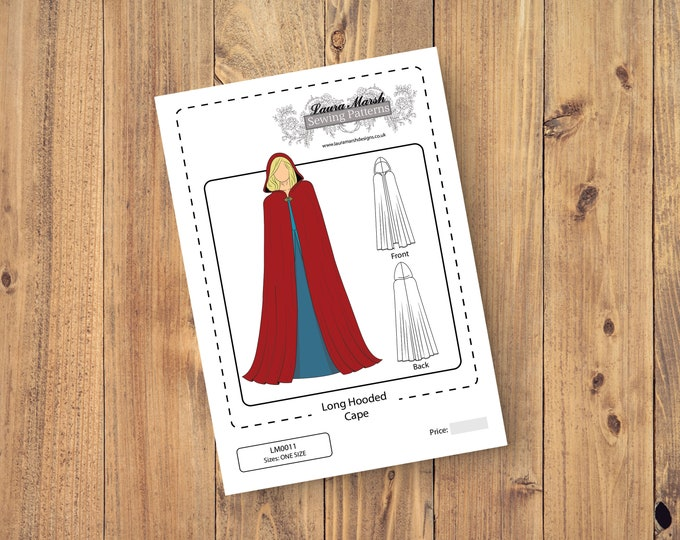 Long Hooded Cape, Cloak, Medieval, Costume, Fairy, Wedding, Bridal, Renfaire, Reenactment Sewing Pattern - One Size - Download PDF