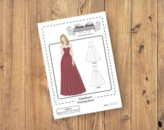 Sweetheart Evening Dress, Prom, Strapless, Bridesmaid, Wedding, Party, Full Skirt, Sewing Pattern - Sizes 8-22 UK - Download PDF