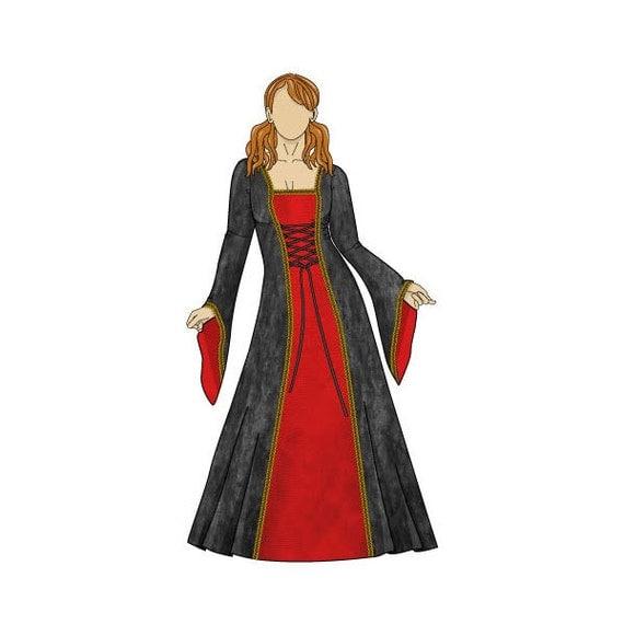 Patrón de costura Anastasia vestido Medieval Reino Unido | Etsy