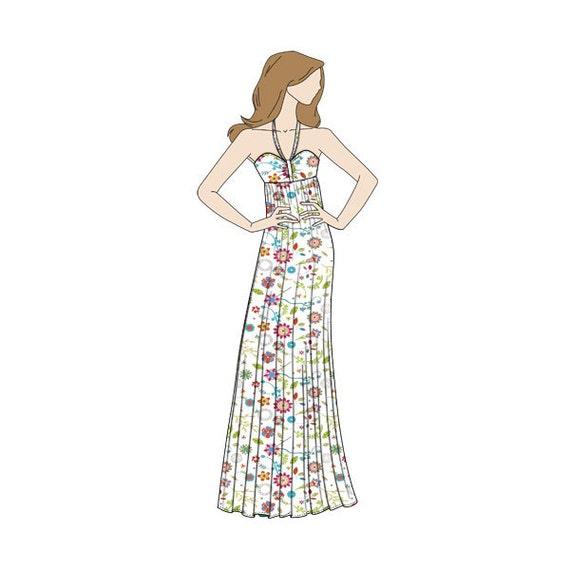 Halter Neck Maxi Dress Sewing Pattern Sizes 8-22 UK | Etsy