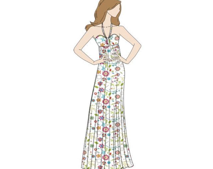 Halter Neck Maxi Dress Sewing Pattern - Sizes 8-22 UK - Download PDF