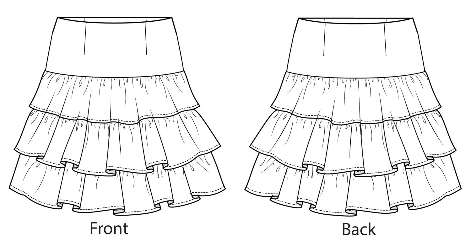 Ra-Ra Frilled/Tiered Skirt Sewing Pattern - Sizes 8-22 UK - Download PDF