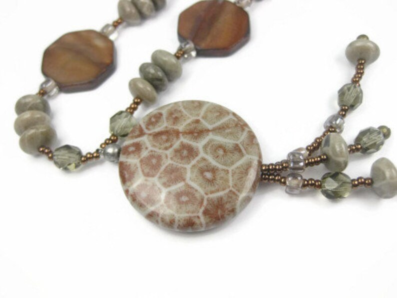 Tassel Necklace With Natural Stone Pendant Neutral Tones