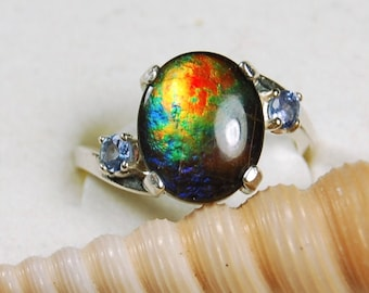 W dim L Adjustable Ammolite Sterling Silver Ring Size 7 1 code 30-sty-20-15 weight 12.20g 1 1 4 T 3 8 inch