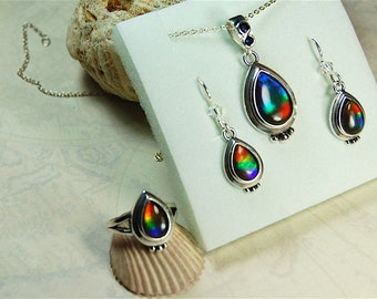 26a7886b79bc86 Ammolite set.Ammolite earrings.Ammolite pendant.Ammolite ring.Rainbow  ammolite.Ammolite from Canada.Canadian ammolite.Canadian gem.#053129