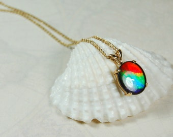 78bfe58f27705f Canadian ammolite rainbow.Ammolite pendant.Ammolite jewelry.Ammolite  jewelery.Ammolite from Canada.Ammolite in gold.Unisex jewelry.#063039