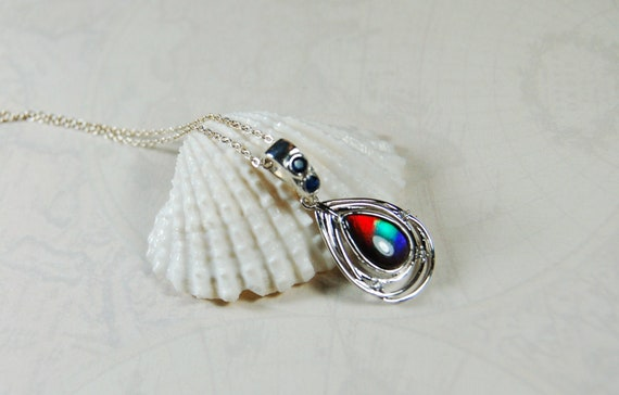 Jewelry for Women Black Leather Necklace Upgraded Elegant Gift Box Exact Gem in Picture s37-2 Z Ammolite Pendant Sterling Silver Rainbow