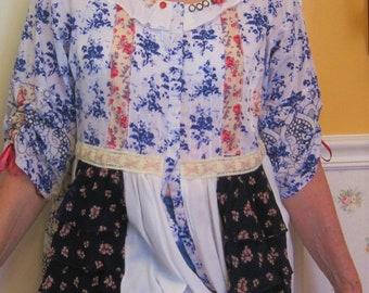 Shabby upcycled SIZE XL 14-16 blue calico print boho bohemian altered blouse top