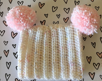 3 month Baby Girl Pom Pom Hat, White and Pink Square  Baby Beanie, Jester Hat,  Crochet  beanie, infant hat,