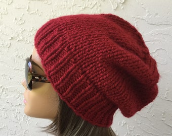 ff6e263a9 Red knit hat | Etsy