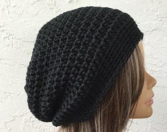 8710753e4c20c Full Black Slouchy Beanie Hat