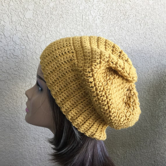 d2cd9facdbc Slouchy Beanie Hat Gold or Mustard Yellow Color Ready to