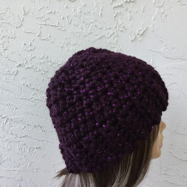 Purple Sparkle Cloche , Ready to Ship Beanie Hat