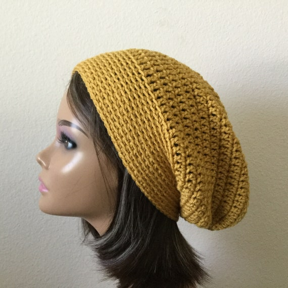 648f7f22b94 Mustard Yellow Slouchy Beanie Ready to Ship Autumn Color