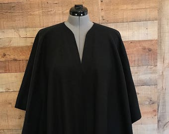 """Fleece Ruana Shawl Wrap 50"""" X 65"""" Misses Onesize Edge Topstitching Black Color Handmade with or without pockets"""