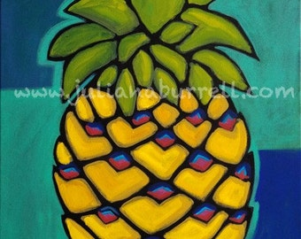 Giclee Art Print from Original Acrylic Painting entitled Yellow Pineapple - 24x30 inch