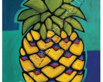 Greeting Cards from Original Acrylic Painting entitled Yellow Pineapple - 5x7 inch - 10 CARDS
