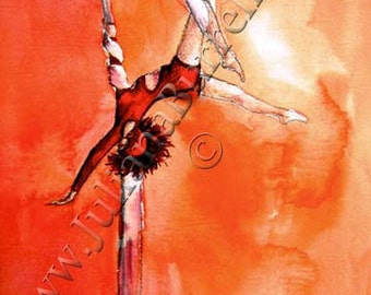 Greeting Cards from Original Artwork entitled Red Circus Girl on Hammock Silk - 5x7 inch - 10 CARDS