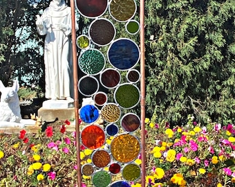 XL Elements Yard art. Real stained glass & copper garden stakes Multi color Free shipping