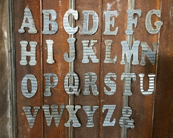 """10"""" J - Recycled Antique Roofing Tin Letter  by JunkFX"""
