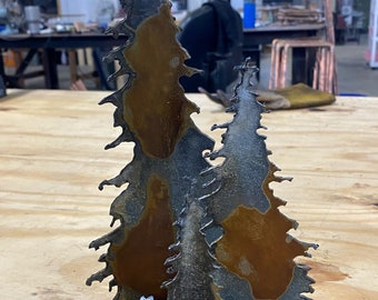 Distressed Galvanized 3 tree group made in Iowa