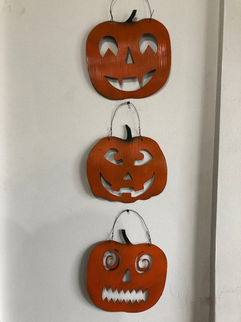 Halloween Recycled Roofing Tin Hanging Jack-o-Lantern Pumpkins image 0