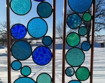 Elements Yard art. Real stained glass & copper garden stakes Blue mix.  Free shipping