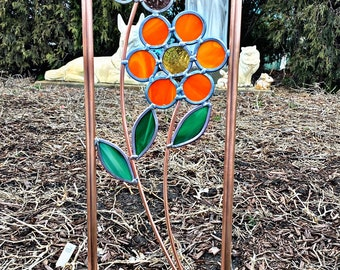 One Large Flower Copper and stained glass garden art stake. Free Shipping You pick the colors you want