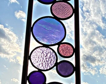 Elements Yard Art. Real stained glass & copper garden stakes In Purple color mix Free shipping