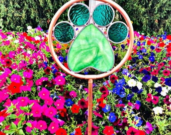 Garden Paws Real colored glass and copper yard decor