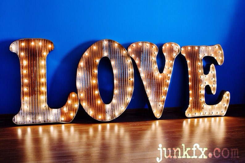 Vintage Style Marquee Lighted LOVE Sign 48 inches tall image 0