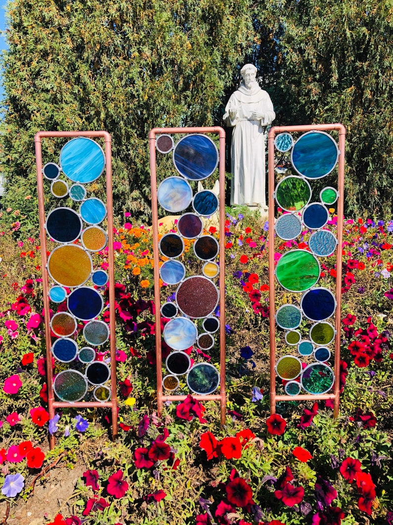 Two Large Copper and glass garden   Stained Glass garden art image 0