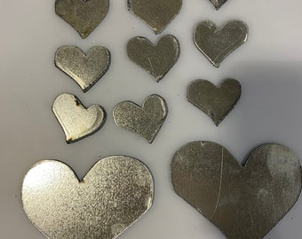 11 Galvanized Metal Heart's Free Shipping