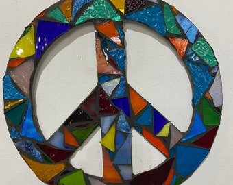 Stained Glass Mosaic Peace sign made in our studio  FREE SHIPPING