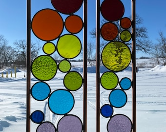 Elements Yard art. Real stained glass & copper garden stakes Rainbow Free shipping