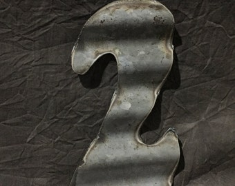 "6"" 2 - Recycled Antique Roofing Tin Number by JunkFX"