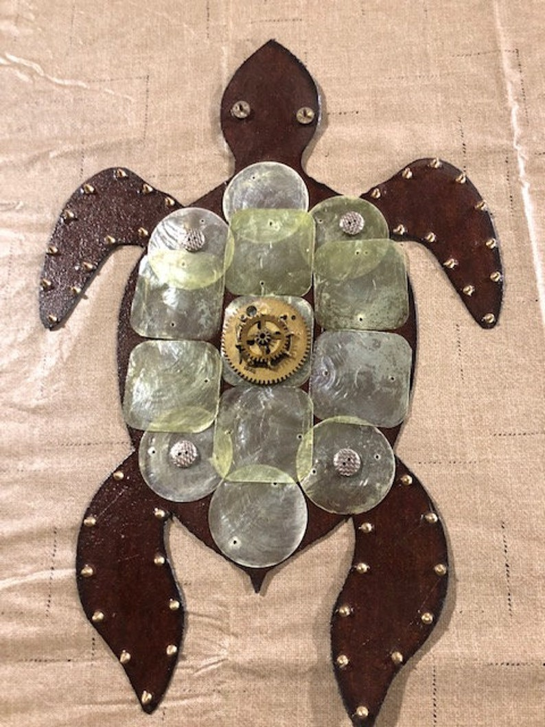 Sae Turtle on Vintage Roofing Tin Assemblage Found Art image 0