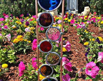 1- CUSTOM COLORS, Plant Stake Copper and stained glass garden  3.5 x21 inch . Free Shipping! Send in a Message what colors you want