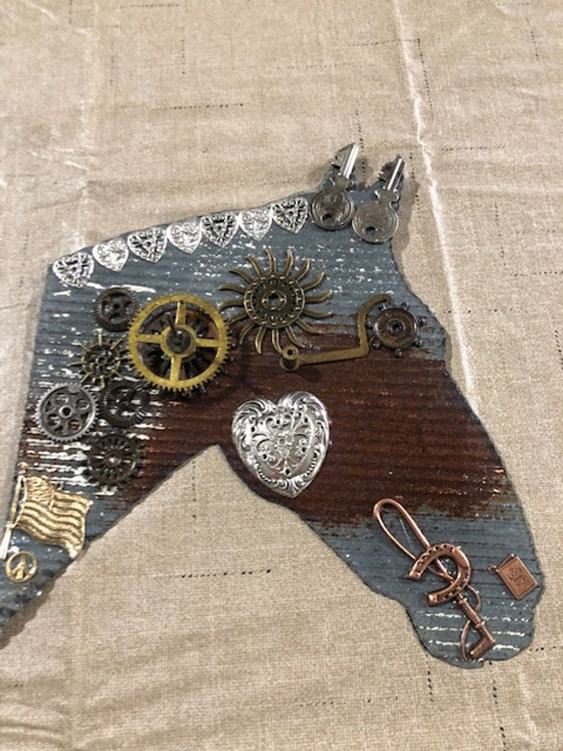 Horse on Vintage Roofing Tin Assemblage Found Art image 0