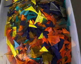 5 pounds of scrap stained glass Free shipping