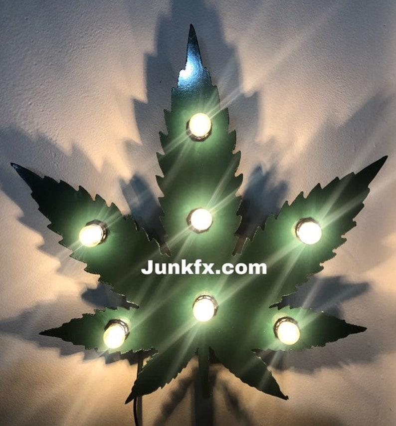 Flat Metal Lighted Weed Marijuana Pot leaf image 0