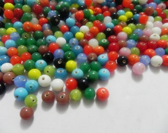 SUPPLIES-beads -  300  Pcs lot Plain glass Bead rounds 10 mm  handmade mix multy color