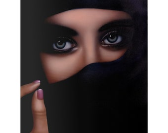 Veiled Woman Original Painting, Beautiful Female Eyes Portrait, Canvas Painting, OOAK, One Of A Kind Painting